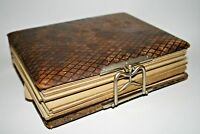 Vintage Picture Book 1893 Anne Pearce  Leather Cover Metal Lock Gold Gilded