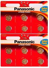 12 x Panasonic CR2032 3V Lithium Coin Cell Battery 2032 Power Value Pack