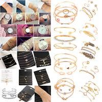 New Fashion Women's Bracelets Crystal Metal Bangle Cuff Chain Charm Bracelet Set
