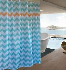 Jade Orange Chevron Pattern Fabric Shower Curtain New Free Shipping