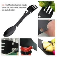 5 in 1 Spoon Fork Bottle Can Opener Camping Cooking Supplies Stainless Black