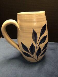 "Williamsburg Pottery PITCHER 7.5"" Tall. Salt Glaze Colbalt Blue Flower."