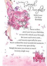 Granddaughter Happy Birthday Card Pink Verse Dress Shoes Bag Embossed Foil