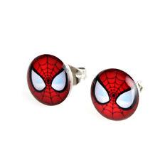 Fantastico Spiderman Rosso e Nero, Argento placcato Orecchini Uomo Pipistrello Nuovo di Zecca