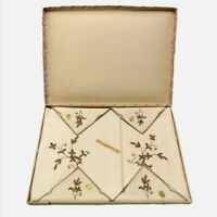 Vintage Boxed Irish Table Cloth And Napkins. Linen And Cotton. Cream Floral.