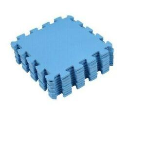 BLUE SOFT FOAM INTERLOCKING EVA MATS FLOOR 30x30cm OFFICE GARAGE 9 pieces UK