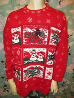 Vintage Willow Bay Snowmen Holiday Ugly Christmas Sweater M+