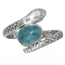 925 Sterling Silver Aquamarine Adjustable Ring Raw Aquamarine Crystal Ring-S074