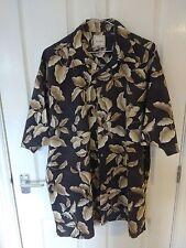 Mens Vintage gold leaf print hawaiian shirt by Saddlebred size XL