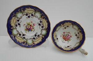 Antique British Tea Cup Saucer Hand Painted Floral Bouquets 19th Century No6