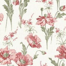 Floral Garden Wallpaper Red Flowers Vintage Retro Watercolour Linen Gold Shimmer