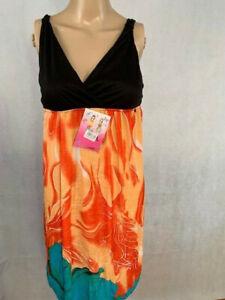 Shi Yunlai Summer Floral Print Fun Beach Cover Up Dress Black Blue Orange Size L
