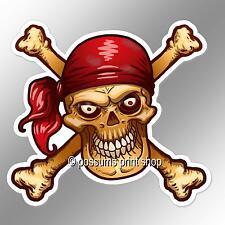Funny Car Bumper Sticker Pirate Skull Red Bandanna Eyes Cross Bones 104 X 94.5mm