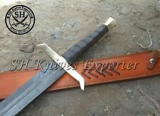 """38"""" INCHES CUSTOM MADE DAMASCUS KING ARTHUR EXCALIBUR WITH LEATHER WRAP SWORD"""