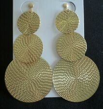 "Circles Drop Chandelier Jewelry Non Pierced 3"" Long Clip On Earrings Gold Disc"