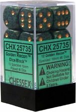 Chessex Dice d6 Sets Golden Recon Speckled-16mm Six Sided Die12 Block CHX 25735