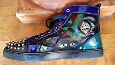 CHRISTIAN LOUBOUTIN Lou Spikes Orlato Stellar Patent Oil Sneakers - Size 44 1/2