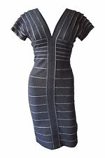 *HERVE LEGER* GREY V NECK SHORT SLEEVED BANDAGE DRESS (S)