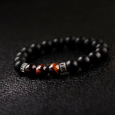 Natural Stone 8mm Tigers Eye+Onyx Gemstone Sanskrit Beaded Men Bracelets Gifts