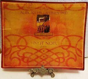 "PRIMA DONNA Pinot Noir 2004 Auburn Hills Vineyard Glass Platter Dish 10"" NEW"