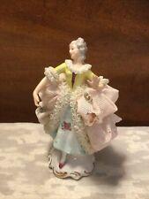 Vintage German Dresden 4-1/2� Porcelain Lace Figurine-Victorian Lady