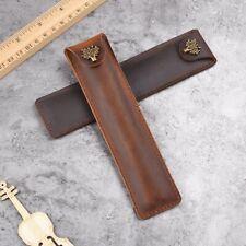 Handmade Cowhide Leather Vintage Single Pen/Pencil Case Stationery Storage Bag