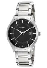 BULOVA BLACK DIAL CALENDAR DATE STAINLESS STEEL MEN'S WATCH 96B184 NEW