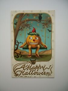 Postcard Early Antique Embossed Halloween #1