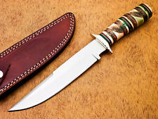 HAND FORGED STAINLESS STEEL HUNTING KNIFE-ENGRAVED CAMEL BONE HANDLE-MP-5070