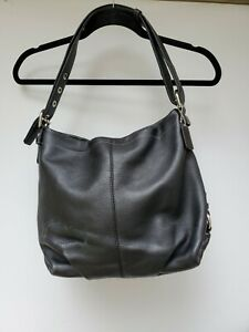 Authentic COACH Leather Shoulder Convertible Crossbody BLACK Hobo Handbag F15064