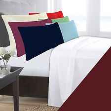 SINGLE BED WINE MAROON BASE VALANCE SHEET POLYCOTTON 180 THREAD COUNT PERCALE