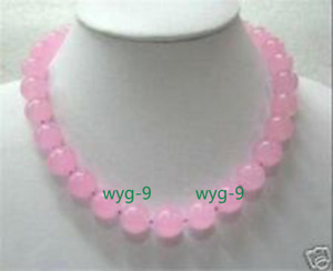 New 8mm pink chalcedony round gemstone necklace 18 inches