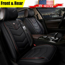 Microfiber Leather Black & Red 6D Full Surrounded 5 Seat Car Seat Cushion US !