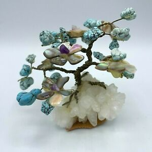 Vtg Prosperity Tree Sculpture Turquoise Abalone Quartz Twisted Wire Bonsai
