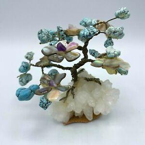 Vtg Prosperity Tree Sculpture Turquoise Abalone Quartz Twisted Wire Bonsai