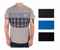 Mens T Shirt Cotton New Tartan Denim Crew Neck Navy Black Grey Royal New Thick