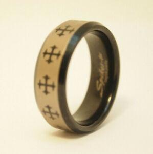 Spikes-TU Tungsten Black Cross Mens Wedding Ring Band