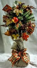"NWT Autumn Fall Floral Topiary in Burlap-Pears Pomegranates Cones Leaves 20.5""T"