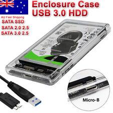 "USB 3.0 Full Transparent 2.5"" SATA SSD HDD Hard Disk Drive Enclosure Case PC AUS"