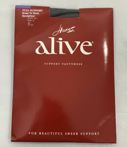 Hanes Alive Full Support Pantyhose Size E Womens Jet Sheer to Waist Sandalfoot
