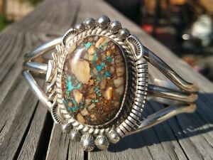Thomas Francisco Navajo Royston Boulder Turquoise Sterling Silver Cuff 38.8