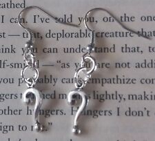 HANDCRAFTED EARRINGS - QUESTION MARK - SILVER PLATED - RIDDLER BATMAN
