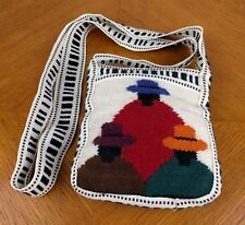 VTG Sm Alpaca Purse Fabric Bag Figures Hats Colorful Wool Soft Handmade Hippie