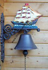 Schwere Wandglocke, Schwere Glocke Motiv Segelschiff, edel handbemalt 40 cm