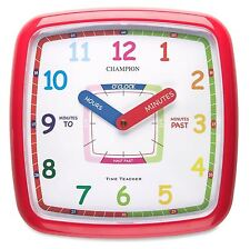 New Learn to tell The Time Teacher Nursery Kids Bedroom Quartz Wall Clock Red Uk