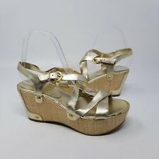 Ivanka Trump Gold Ankle Strappy Espadrille Wedge Heel Peep Toe Women Size 7.5 M