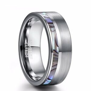 Fashion Men Tungsten Carbide Band Ring Comfort Fit Engagement Wedding Jewelry