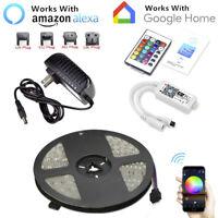16.4ft RGB 150LED Alexa Smart Home WiFi Wireless LED Strip Lights Neon Light Kit