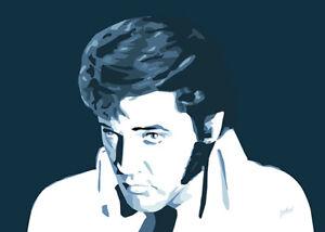 Elvis Presley - Elvis In Blue - Original (signed) art print - Jarod Art