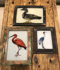 3 Large Vintage Indian Reverse Glass Paintings With A Selection Of Wading Birds